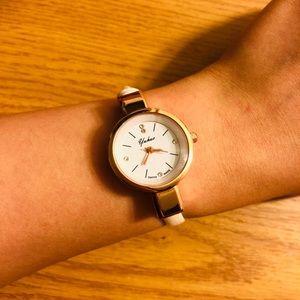 White thin bracelet watch